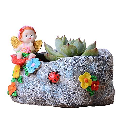 Maceta de flores linda resina de dibujos animados Ángel de imitación de piedra maceta suculenta creativa mini maceta contenedor de decoración interior de artesanía mini jardín maceta contenedor