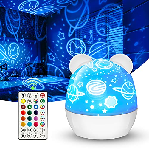 Star Projector Light with 360 Rotating,Colorful Dimmable Bedroom Starry Night Light Lamp with 15 Colors Lights for Kids Adults Halloween Christmas Gifts - 6 Sets of Film