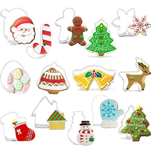 14pcs emporte de Noël, emporte-pièces de vacances d'hiver Noël, renne, flocon neige, arbre Noël, bonhomme en pain d'épice, père Noël, bonhomme neige, canne à sucre et autres emporte-pièces de Noël