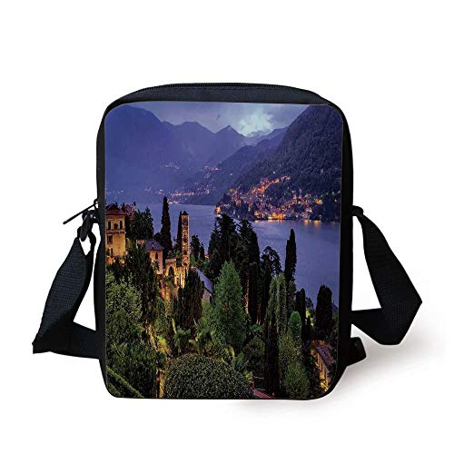 FAFANIQ Italian,Lago Di Camo Lake Famous Coastal Village with Aerial View Picturesque Panorama Decorative,Blue Green Print Kids Crossbody Messenger Bag...