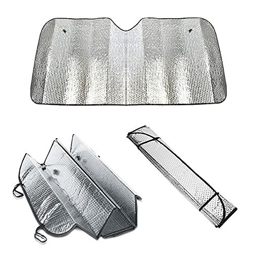 Parasol delantero universal para coche 140 x 70 cm. Plegable y compacto con un material reflectante del calor y los rayos UV para mantener tu vehículo fresco.