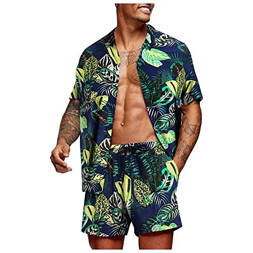 Hombre Pantalones Cortos y Camisas Manga Corta con Estampado Conjuntos ,Conjuntos de Chándales para Hombre ,Camisa Hawaiana Divertida de Verano, Camisa de Playa