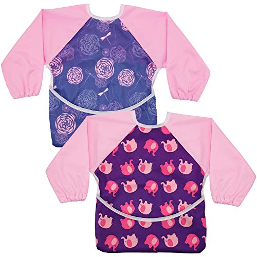 Hautton 2 Stück Set Wasserdicht Baby Lätzchen mit Ärmel Langarm Kunst Handwerk Malerei Schürtze Fütterungsschürze für Kleinkinder für Kleinkinder 6-36 Monaten -Pink