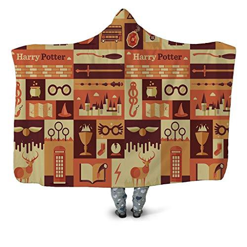 KOQTO 3D geprinte capuchon deken, Harry Potter capuchon mantel dubbele laag dikke pluche gooien draagbaar deken Sofa deken