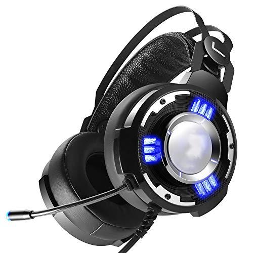 SZKQN Gaming-headset op de kop, 7.1-kanaals microfoon met ruisonderdrukking en hoge geluidskwaliteit en een laag gewicht voor pc, MAC, Playstation 4 en Xbox One