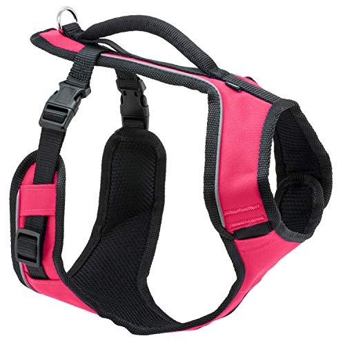 PetSafe EasySport Dog Harness, Adjustable Padded Dog Harness with Control Handle and Reflective Piping, From the Makers of the Easy Walk Harness,Pink,Medium