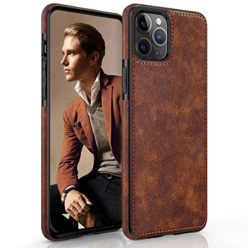 """LOHASIC Compatible with iPhone 12 Pro Max Case, Slim Luxury PU Leather Non-Slip Grip Rugged Bumper Shockproof Full Body Protective Cover Phone Cases for iPhone 12 Pro Max 6.7"""" (2020) - Vintage Brown"""