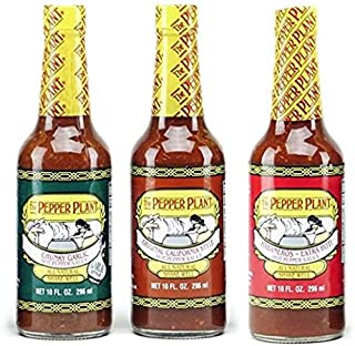 The Pepper Plant Hot Sauce Variety Pack (1) Original 10oz (1) Chunky Garlic 10oz (1) Extra Hot with Habanero 10oz (Pack of 3)