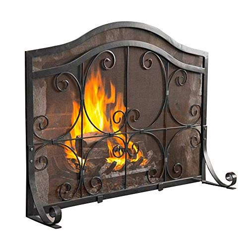 Spark Guard Freestanding Fireplace Screen Safety, Solid Wrought Iron Fireproof Guard Kids Puppy Safety Fence, Black Farmhouse Style Spark Protector