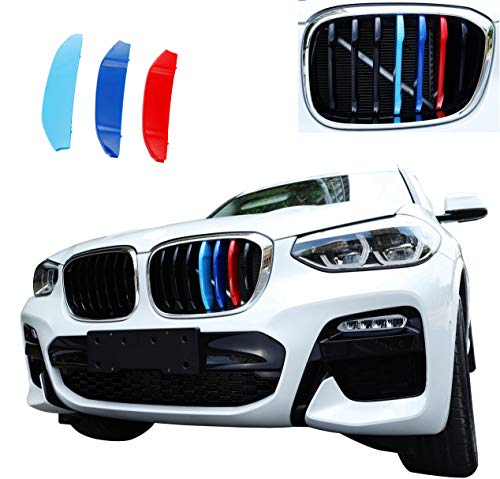 Exact Fit ///M-Colored Grille Insert Trims for 2018-up BMW G01 X3 or G02 X4 Accessories for w/Standard Kidney Grille (7Beams)
