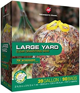 Member Mark Large Drawstring 39 Gallon Bags, 90 Count (Pack of 12)
