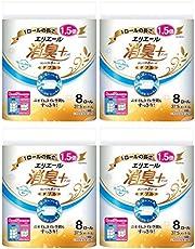【まとめ買い】エリエール 消臭+(プラス) トイレットティシュー ダブル(37.5m) コンパクト8ロール(1.5倍巻き) フレッシュクリアの香り パルプ100%×4個