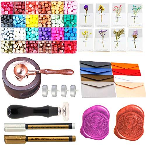 Wax Seal Set, ANBOSE 745pcs Wax Sealing Kit with Wax Seal Beads, Sealing Wax Warmer, Envelopes, Wax Seal Stamp Flower Cards and Wax Pen for Wax Sealing