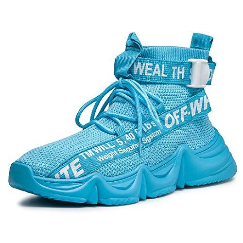BNC Seguridad Malla Zapatilla de Deporte Ligero Hombres Zapatos, Suela de Goma, CóModo y Respirable, Antideslizante, para Correr, Caminar, Escalar, IR de Compras, Trabajar,Azul,43