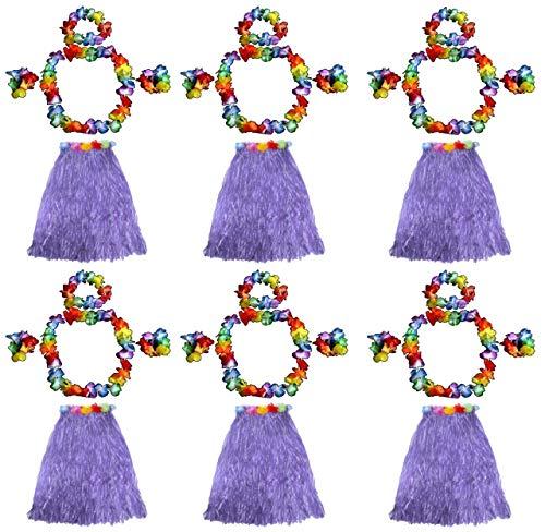 Quickdraw 6 x Hawaiian Hula Girl Grass Skirt and Flower Hula Lei Garlands Fancy Dress Costume 5 Piece Set