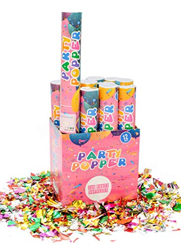12 Piece Confetti Cannon Party Poppers (12 Inch) in Decorated Box - TUR Party Supplies Authentic Giant Confetti Cannons for Parties, Birthdays, Weddings, and More - Safe and Fun for Family and Friends