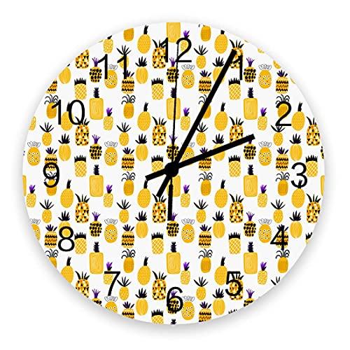 Reloj de pared artístico para decoración de sala de estar, amarillo, piña, ilustración artística, decoración moderna, elegante, silencioso, funciona con pilas, colgantes, relojes de pared para oficina