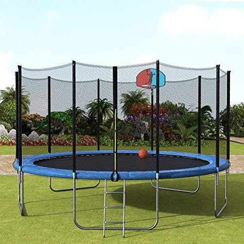 15FT Trampoline with Safety Enclosure Net, Basketball Hoop and Ladder