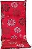 Beo Sitzkissen Gartenstuhlauflage Hochlehner Serie Barcelona M301 Pusteblume rot 118 cm x Breite 50 cm x Dicke ca. 6 cm
