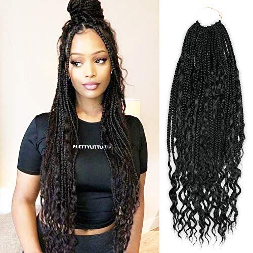 24 Inch 120 Strand AU-THEN-TIC Boho Goddess Box Braids Crochet Hair Curly Ends Box Braid Hair Hippie Braid Bohemian Braids Crochet Hair Extension, Free Gift (5-PACK, 1)