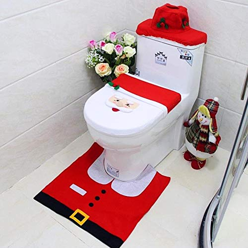 winemana Santa Claus Christmas Toilet Seat Cover and Mat Set for Bathroom, Set of 3 (Red)