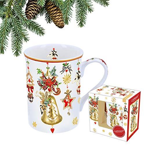 CARMANI - Taza de porcelana festiva decorada con temática navideña de 400 ml.