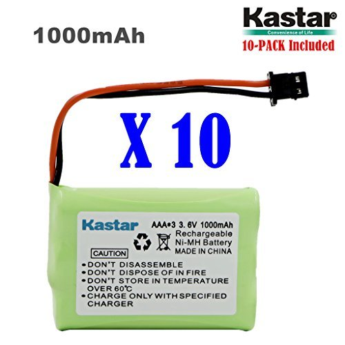Kastar 10-Pack AAAX3 3.6V MSM 1000mAh Ni-MH Rechargeable Battery for Uniden Cordless Phone BT-446 BT446 BP-446 BP446 BT-1005 BT1005 TRU8885 TRU8885-2 TRU88852 TRU8888 TRU9460 TRU9465 TRU9480 TCX-800