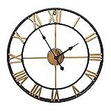 HOSTON Reloj de Pared Moderno con Pilas,Reloj Pared Romano Grande de decoración de Sala de Estar muda atómica de 40 cm,Adecuado para Empresas, escuelas, cafés (Dorado)