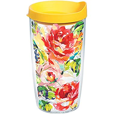Tervis 1244401 Fiesta - Floral Bouquet Tumbler with Wrap and Yellow Lid 16oz, Clear