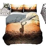 Funda de edredón con diseño de ciervo rojo en la mañana, sol salvaje, paisaje rural, estilo moderno, transpirable, lavable a máquina, 203 x 230 cm, color marrón y naranja