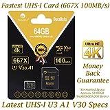 Amplim 64GB Micro SD SDXC V30 A1 Memory Card Plus Adapter Pack (Class 10 U3 UHS-I Pro MicroSD XC) 64 GB Ultra High Speed 667X 100MB/s UHS-1 TF MicroSDXC 4K Flash - Cell Phone, Drone, Camera
