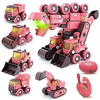 Grechi Take Apart Dinosaur Toys for Kids 5-8 5 in 1 Construction Vehicles Transform into Big Dinosaur Robot STEM Toys for 3 4 5 6 7 8 Year Old Kids Boys
