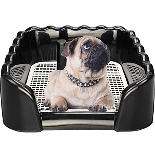 Kelendle Dog Potty Tray Puppy Training Toilet Pads with Removable Post and Wall Cover Pet Potty Fence Toilet Pad Holder for Dogs and Cats(Black,Big)