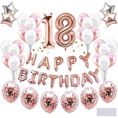 LVkele Palloncini 18 Anni Compleanno, Oro Rosa Decorazioni Feste di Buon Compleanno, Palloncini per Compleanno,32 Pezzi Striscione di Happy Birthday Numero Foil Palloncini