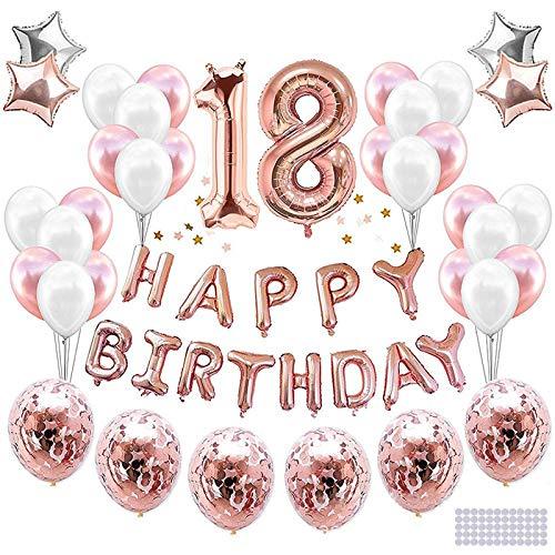 LVkele Palloncini 18 Anni Compleanno, Oro Rosa Decorazioni Feste di Buon Compleanno, Palloncini per...