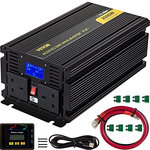 VEVOR Spannungswandler, 2000 W Reiner Modifizierte Sinus Wechselrichter, 12 V DC / 240 V AC, LED-Anzeigen 4000 W, LCD-Bildschirm, 0,3 A, 330 x 167 x 120 mm, Intelligente Lüfterkühlung, 2 Batteriekabel