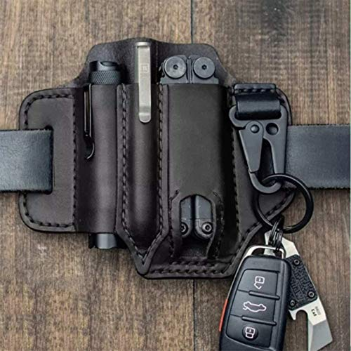 Multitool Leather Sheath EDC Pocket Organizer with Key Holder for Belt and Flashlight Sheath Multitool Pouch - High Leather Quality (Black)