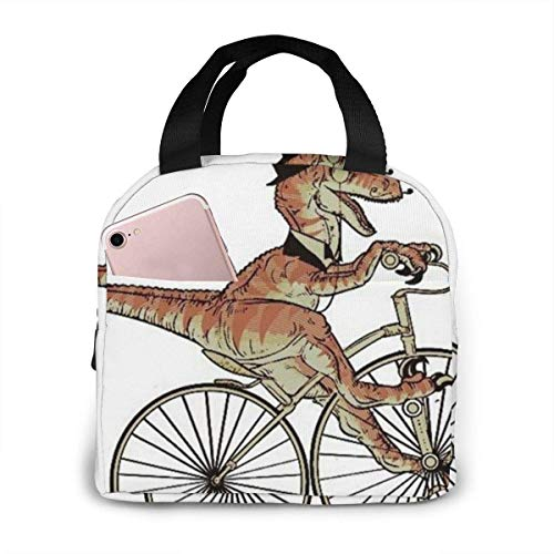 TTmom Cycling Bicycle Dinosaur Insulated Lunch Bag for Women,Lunch Holder Insulated Lunch Tote Bag,Student Thermal Bag and Lunch Cooler Box