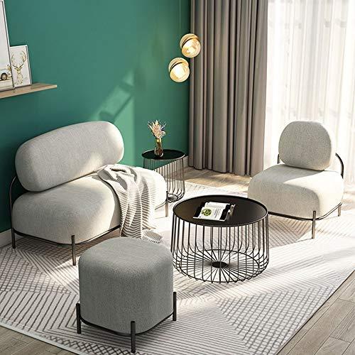 Lwieui Silla Sofá Moderna de Tela for transferencias Relax Silla con otomana for los Juegos y Relajante Jugar, Ver la TV Sillón (Color : Gris, Size : 116x61x79cm)