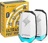 TACKLY Repelente ultrasonico plagas x2 - Repelente ultrasonido antimosquitos Moscas cucarachas Ratas Hormigas arañas - Anti Mosquitos electrico - Enchufe ahuyentador Interior Exterior