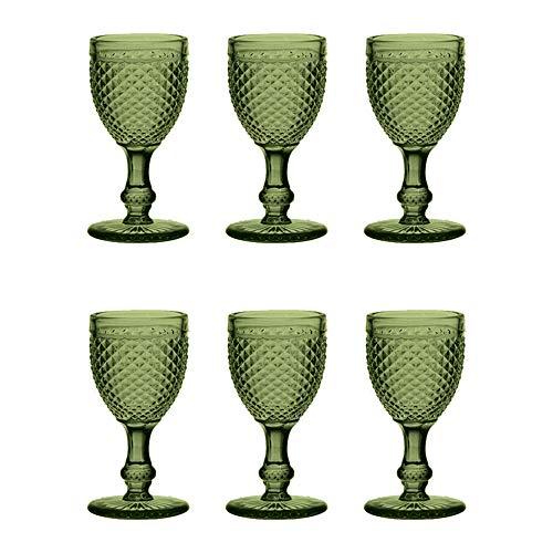 EME Mobiliario Copa de Cristal Tallado Picos en Color Verde Set 6...
