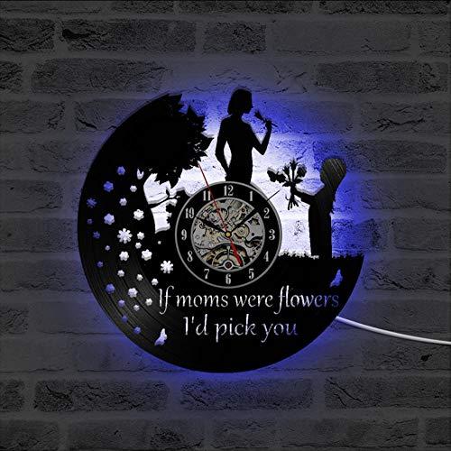 LAYYYQX Happy Mother's Day 3D record klok vinyl record muur decor Hollow unieke hangklok mama LED klok