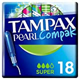 Tampax Compak Pearl Super Tampons avec Applicateur en Plastique x 18 - Lot de 3