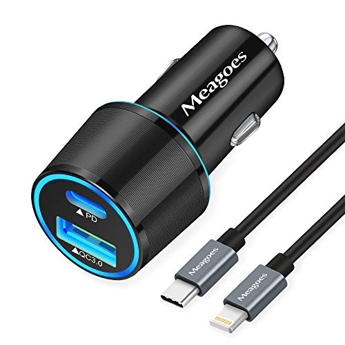 Fast USB C Car Charger, Meagoes 18W PD Rapid Charging Adapter Compatible for Apple iPhone 12 Pro Max/Mini/11/XS/XR/X/8 Plus/SE 2020/iPad Mini 5/Air 3-3.3ft MFi Certified Type C to Lightning Cable