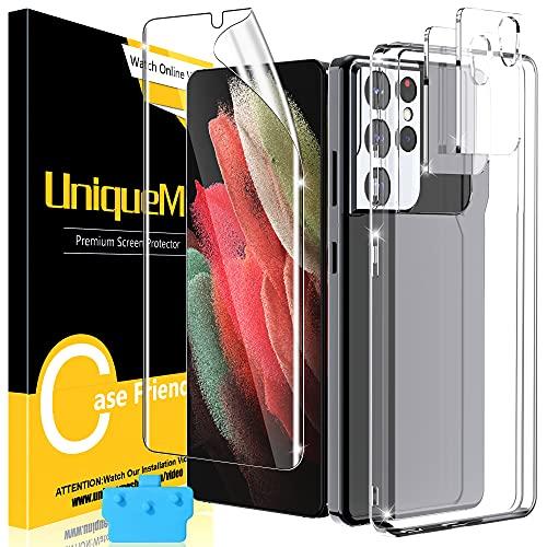 UniqueMe Funda Compatible con Samsung Galaxy S21 Ultra 5G, 1 Pack Protector de Pantalla de TPU y 2 Pack Protector de Lente de Cámara [Anti Choques] [Anti Rasguños] [Silicon Carcasa] Transparent