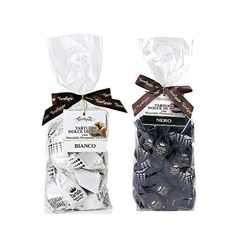 TartufLanghe Trüffel-Pralinen, Alba, dunkle & weisse Schokolade, Standard 14g./Stk., (schwarz) DUO-Sparset [2 x 200g.]…