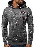 OZONEE Herren Kapuzenpullover Sweatshirt Langarmshirt Sweatjacke Pullover Print Hoodie JS/DD275 GRAU L