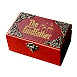 The God Father Music Jewellery Box Plays Speak Softly Love, 18 Note Wind up Wood Musical Box Antique Carved Halloween Christmas Birthday Mini Collections Home Decorations