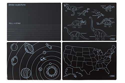 Imagination Starters Reusable Washable 12 x 17 Chalkboard Placemats- Draw, Color, Doodle - Great Gift - Fun Creative Kids Toy for Home or On the Go- Set of 4 (Learning)