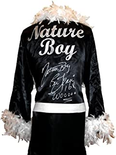 Ric Flair Signed Black Robe & White Feathers w/Nature Boy, 16x & Wooooo Inscription - Autographed Wrestling Robes, Trunks and Belts